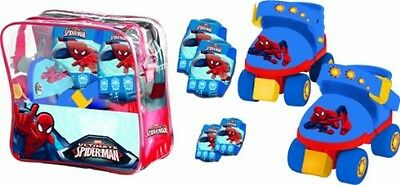 Childs Spiderman Roller Skates & Protection Set With Knee Pads Elbow Pads & Bag
