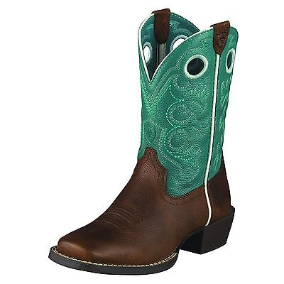 ARIAT - Kid's Crossfire Boots - Brown Rowdy / Turquoise - ( 10005989 ) - New