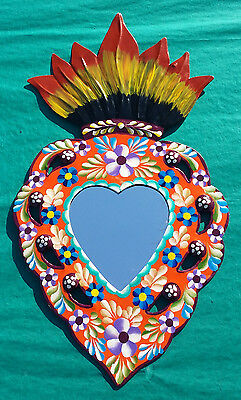 Mexican Hand Painted Punched Tin Mirror Burning Heart Milagro Flower Orange 14x8