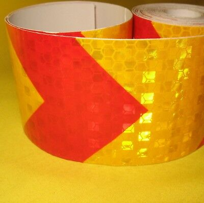 Reflective Safety Warning Tape Arrow 50mm x 3m Roll Red Yellow Adhesive Film Car