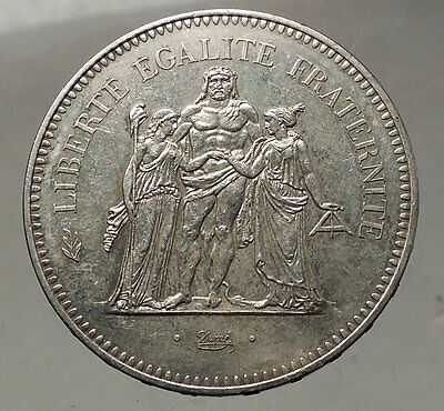 1974 FRANCE -Large 50 FRANCS Authentic French Silver Coin HERCULES Motto i57753