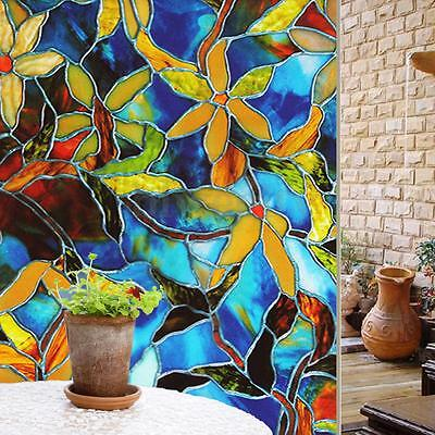 100 x 45cm Flower Privacy Window Static Cling Glass Film Home Office Decor