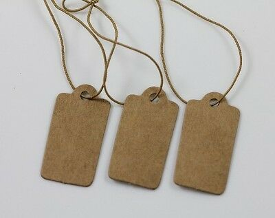 100Pcs Lots High-end Price Label Tags Blank Kraft Paper With Elastic String 30mm