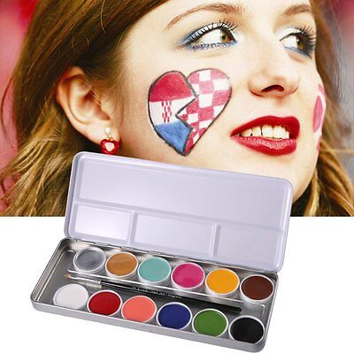 12 Color Grease Face Body  Makeup Art Oil Painting Stage Halloween Party Set Lot