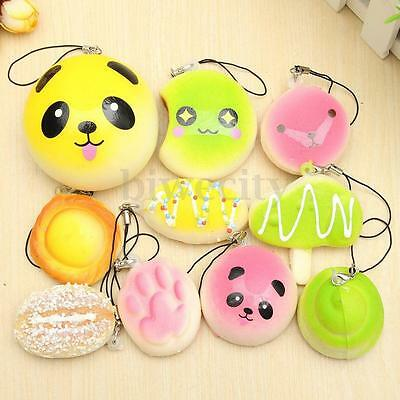 10/20/30Pcs Squishy Soft Panda/Bread/Cake/Buns Key Bag Phone Straps Decor Gift