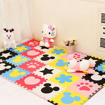24pcs Kids Soft Safety Interlock Foam Crawling Mat Play Puzzle Rug Floor Pad
