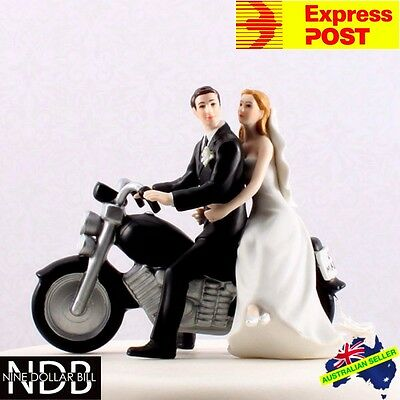 Bride and Groom Motorcycle Get Away Wedding Cake Topper EXPRESS