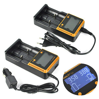C2 LCD Smart 2 Solts Battery Charger for Rechargeable 18650 26650 AAA AA Battery