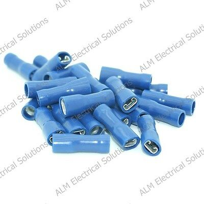 Blue 4.8mm Female Spade Connectors - Fully Insulated Push On Terminals - Pk 1000