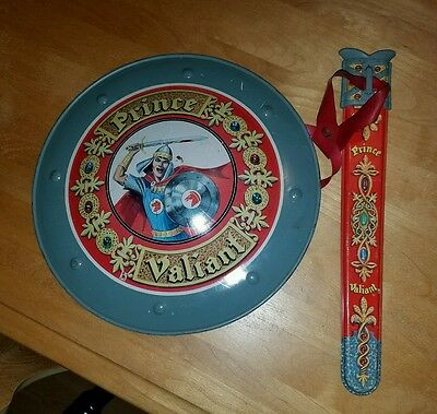 Vintage Mattel Toy Makers Prince Valiant Shield And Sword Holder Tin Litho Rare