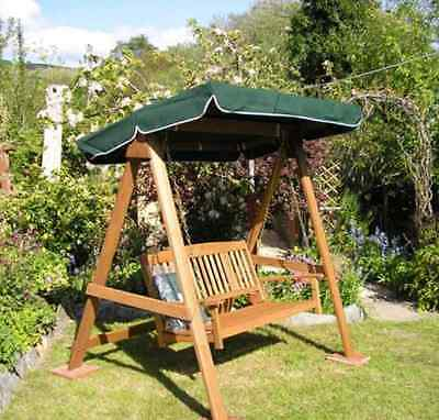 2 Seater Swing Chair Seat & Canopy - Wooden Swinging Bench Garden Patio Outdoor