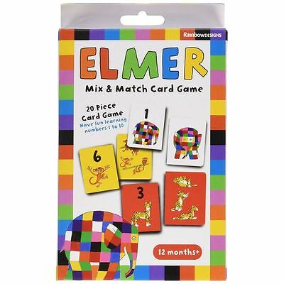 Elmer Mix Match Card Game For Ages 12 Months + Brand New Learning Numbers Set