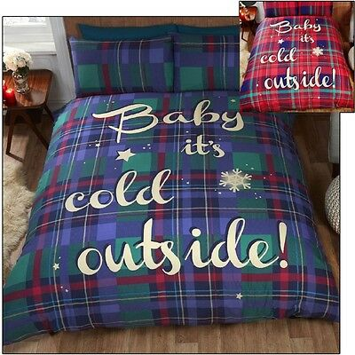 Baby Its Cold Outside Christmas Tartan Duvet Cover Bedding Set Red or Blue by Ra
