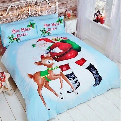 One More Sleep Santa and Rudolf Quilt Duvet Cover Bedding Sets by Rapport Single