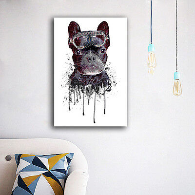 Watercolor Cute Dog Stretched Canvas Prints Framed Wall Art Home Decor Painting