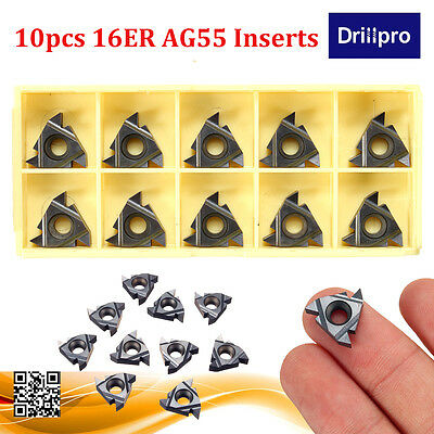 10PCS 16ER AG55 Carbide Threading Inserts For Steel/Stainless Steel Turning Tool