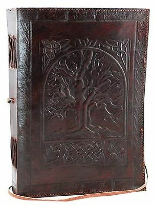 """Large Tree of Life Leather BLANK BOOK Journal Diary 240 Pages 7"""" x 10"""" Notebook"""
