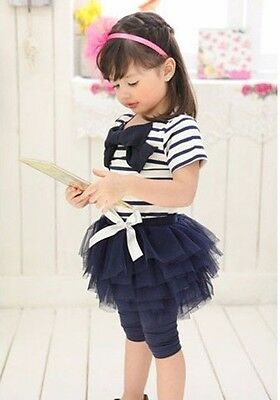 Navy Stripe Girls Bow Top and Tutu Skirt with Leggings, 3PCS, 4-5 YRS