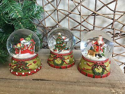 Gisela Graham traditional Christmas snow globes tree sleigh Santa three styles
