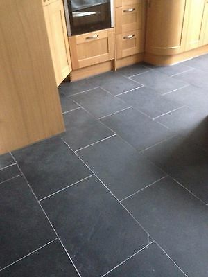 Brazilian Slate Tiles Flooring 20m2 600 x 400 10mm Thick Calibrated Nero Black