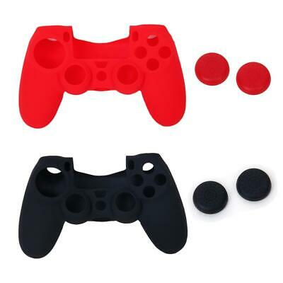 2 Custodia Silicone Cover+2Paia Tappi Joystick for Sony PS4 Controller