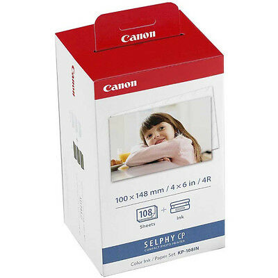 "Genuine Canon KP-108IN Ink Cartridge & 4""x6"" Photo Paper Pack for Selphy CP-910"