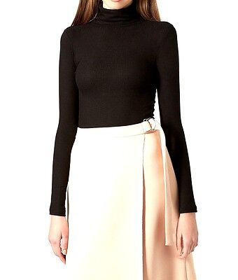 New Women Ladies Ribbed Polo Roll High Neck Stretch Long Sleeve Jumper Top Dress