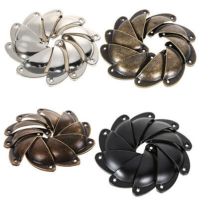 10Pcs Cup Kitchen Cabinet Door Antique Cupboard Knob Drawer Shell Pull Handles