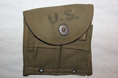 US Military Issue Vintage ORIGINAL WW2 1945 M1 Military Carbine Pouch NOS  0241