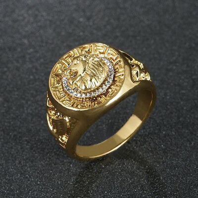 Gold Plated Lion Head Signet Ring Ring Various Sizes