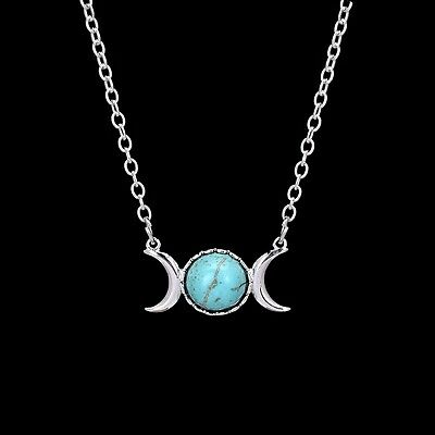 Silver Plated Turqoise Triple Moon Wicca Pendant Necklace