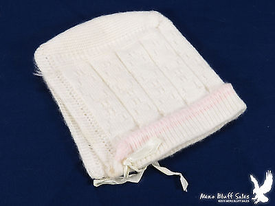 White & Pink Baby Bonnet Cap Knit Vintage VERY SWEET