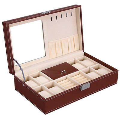 Brown Leather Mens Unisex Jewelry Box 8 Watch Organizer Storage Case w/ Lock