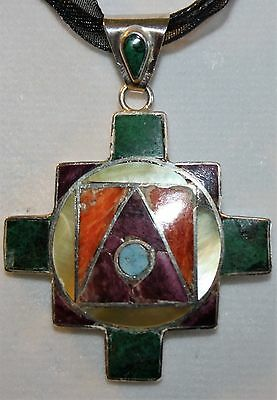 Peru 950 Sterling Silver Purple Orange Spiny Oyster Turquoise Inlay Pendant