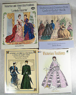 4 Stage Theatre Victorian Edwardian 1800's Fashion Costume Book Lot Softcover