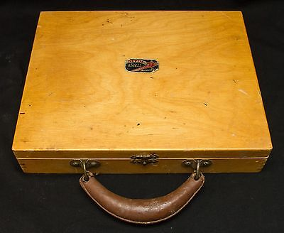 Vintage Devoe & Raynolds Wood Art Painters Case No. 8~Leather Handle~Dovetailed