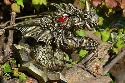 Dragon Head Wall Trophy with LED Eyes - Plaque - Figurine - Statue - Skull