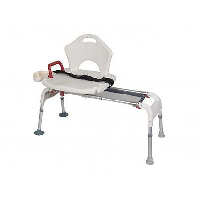 Drive Medical Folding Universal Sliding Transfer Bench White, 300 lb Weight Cap