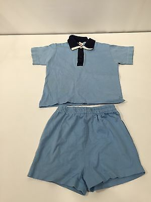 Vintage 1960s 70s Buster Brown Toddler Boys Blue Pajama Sleep Set Shirt Shorts 4