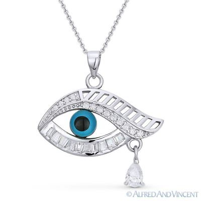 Evil Eye Crystal Bead Pendant Turkish Nazar Greek Charm Sterling Silver Necklace