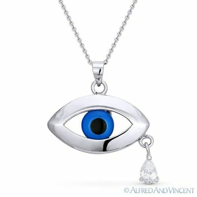 Evil Eye Glass Bead Pendant Turkish Nazar Greek Charm Sterling Silver Necklace