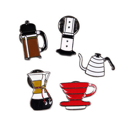 1Pc Metal Enamel Coffee Cup Filter Chemex Collar Pins Badge Corsage Brooch