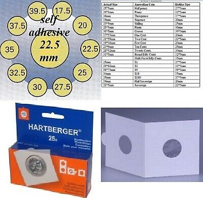 25 HARTBERGER self adhesive 2 x 2 coin holders:22.5 mm   made in the Netherlands