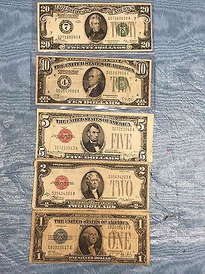 *LOT(5)ALL 1928 $1 $2 $5 $10 $20 BLUE/RED/GREEN SEAL FRN's & SILVER CERTs #20