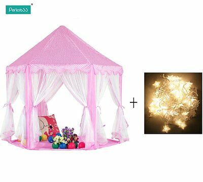 Kid Girls Pink Princess Castle Playhouse Children Play Tent with Light CA STOCK