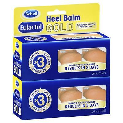 Scholl Eulactol Heel Balm Gold 120ml Twin Pack