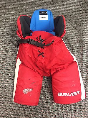 NHL Game used Pro Stock Bauer hockey Pants Detroit Red Wings Large Sheahan