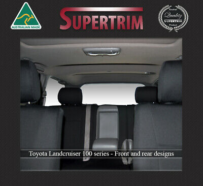 Seat Covers fit Toyota Landcruiser 100 Series Front FB pockets & Rear Waterproof