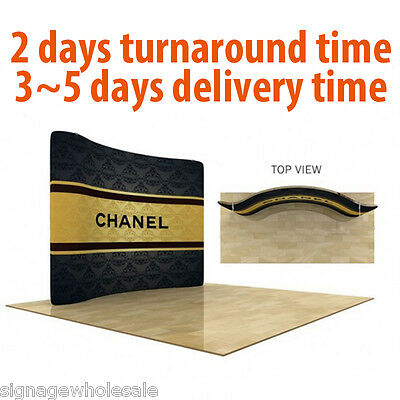 10ft Curved Trade Show Display with Custom Graphics Portable Pop Up Tube System