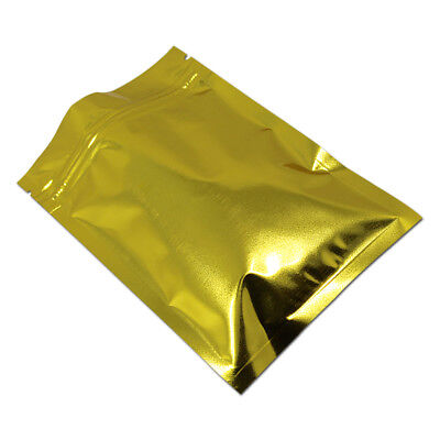 Gold Aluminum Foil Pouches Mylar Ziplock Bags Food Safe Smell Proof Resealable